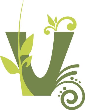 leaf shape: Floral letter V from the alphabet