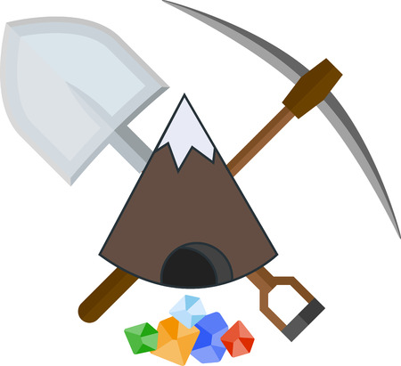 mattock: Flat icon with mountain and mining tools Illustration