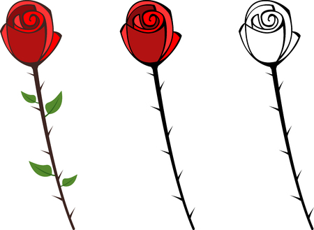 thorns and roses: Set of red graphic roses with thorns