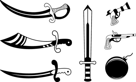 pistols: Black set of pirate weapons: sabers and pistols