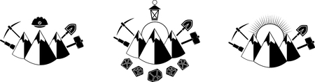 mine lamp: Set of black icon with mountains and mining tools Illustration