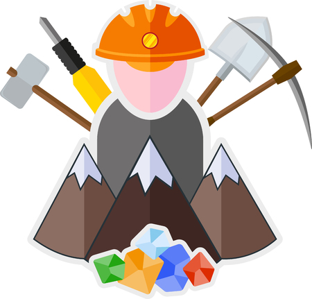mattock: Flat icon with mountain, miner and mining tools