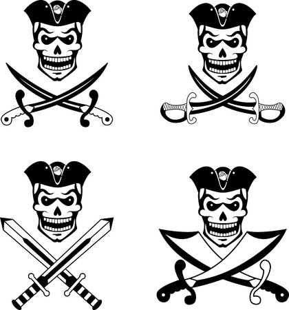 sword: Black set of pirate emblems with skulls and swords