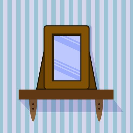 glass reflection: shelf with a mirror on a striped background. EPS10