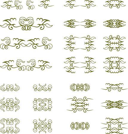 Set of floral vintage elements