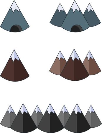 mountain silhouette: Set of flat mountains icon