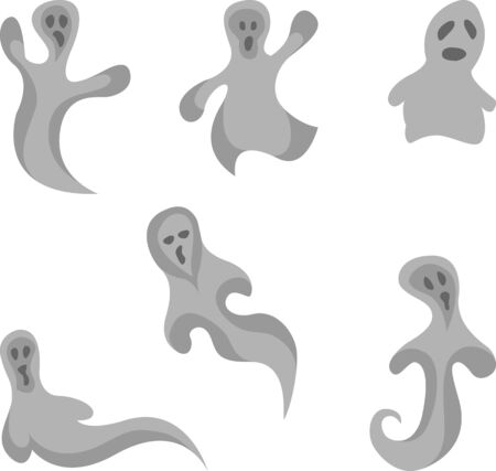 otherworldly: Set of ghost halloween icon Illustration