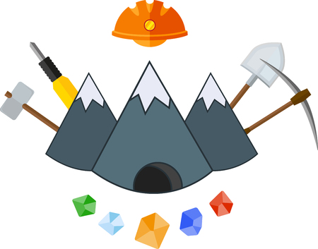 peak hat: Flat icon with mountain and mining tools Illustration
