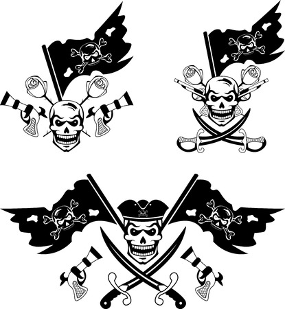 jolly roger: Black set of pirate emblems with Jolly Roger