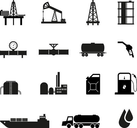 cami�n cisterna: Conjunto de iconos de petr�leo negro