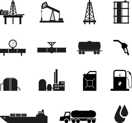 oil refinery: Set of black oil icons
