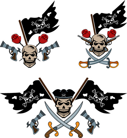 roger: Set of pirate emblems with Jolly Roger