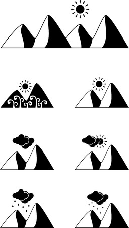 mountain silhouette: Set of black landscape weather icons