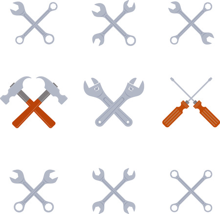 crosswise: Set of flat crosswise tools Illustration