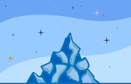 Iceberg and sky with stars