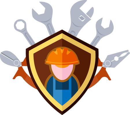 fitter: Flat emblem of the builder and working tools Illustration
