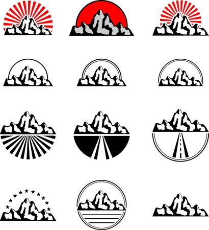 rocky road: Set of black mountain symbols