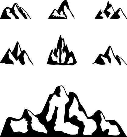 mountain silhouette: Set of black graphic mountains