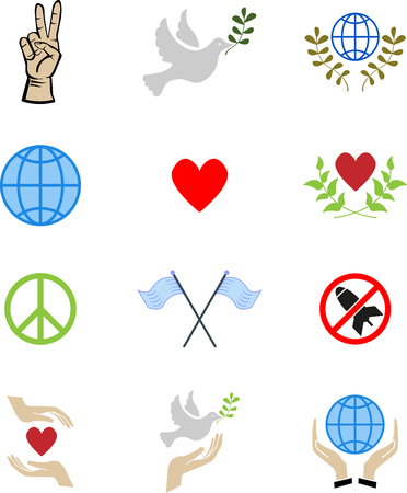 world war 2: Se of abstract peace icon