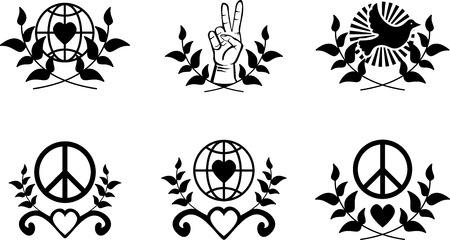 heart symbol: Set of peace sign with branch