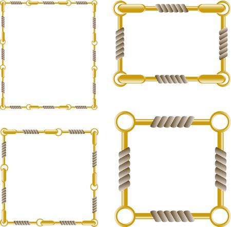string together: Set of golden chain frames.