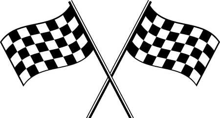 two crossed checkered flags: two black checkered flag crosswise Illustration