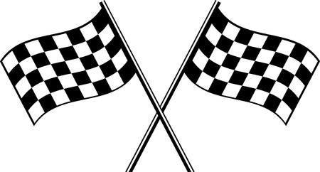 two black checkered flag crosswise Ilustração