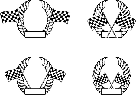 rallying: Set of checkered flag with a wreath