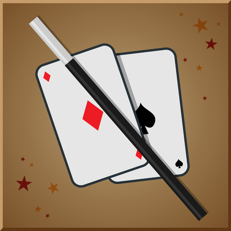 conjurer: Playing cards and Magic wand.