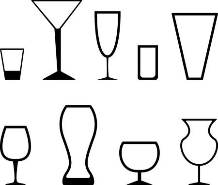 alcoholic drink: Set of black graphic stemware