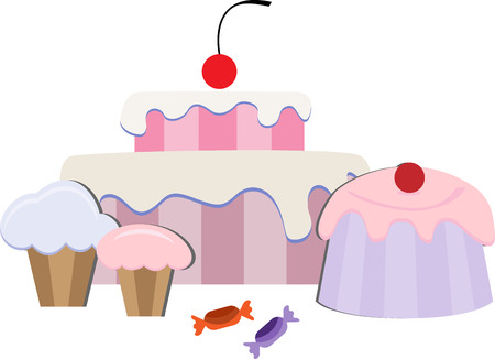 sweetshop: cake with pudding and sweets Illustration
