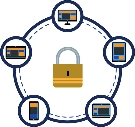 protection devices: Electronic devices connecting and protection icon Illustration