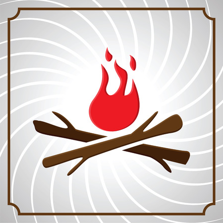 wood fire: vintage frame with wood and fire