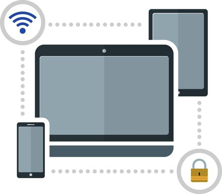 protection devices: flat image of protection electronic devices. EPS 10