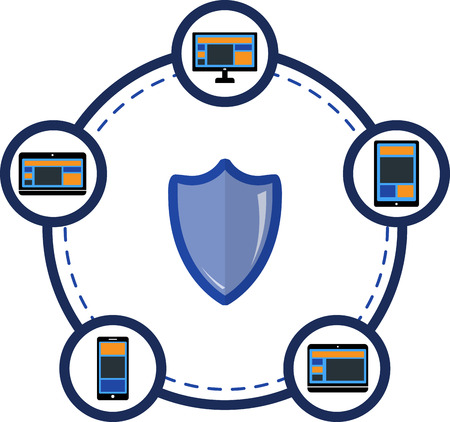 protection devices: Electronic devices connecting and protection icon. EPS 10