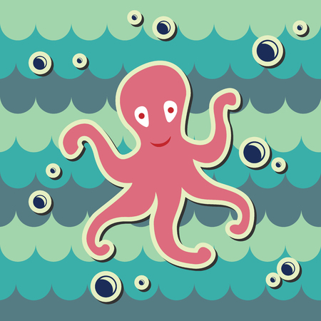 devilfish: octopus on sea background with bubbles Illustration