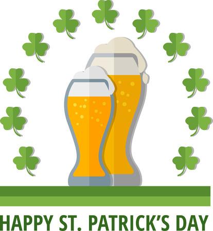 erin: St. Patricks emblem with glasses of beer. Eps 10 Illustration