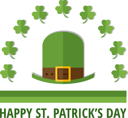 irish pub label: St. Patricks emblem with green Irish cap. Eps 10