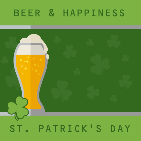 beer card: Patricks day card with beer on green background