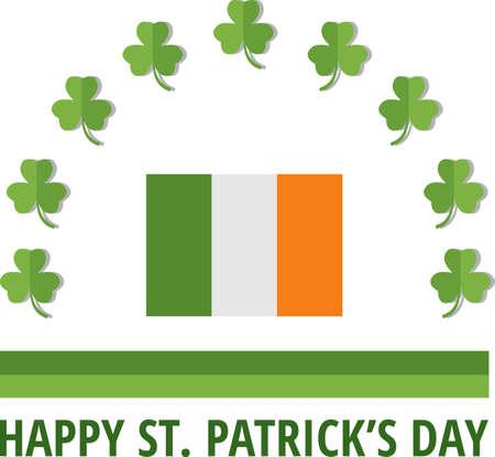 irish pub label design: St. Patricks emblem with Ireland flag. Eps 10