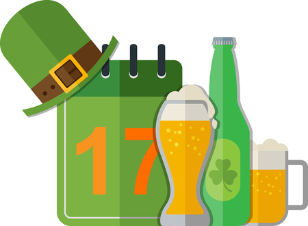 irish pub label design: St. Patricks card with calendar and beer. Eps 10 Illustration