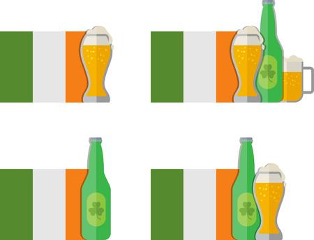 irish beer: Flat set of Irish beer icon. Eps 10 Illustration