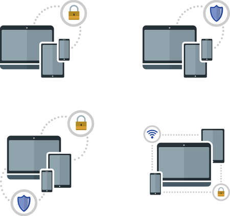 protection devices: Set of flat image with protection electronic devices. EPS 10