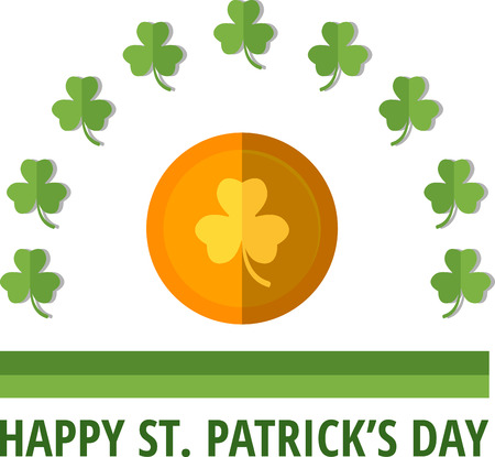 feast of saint patrick: St. Patricks emblem with gold coin. Eps 10