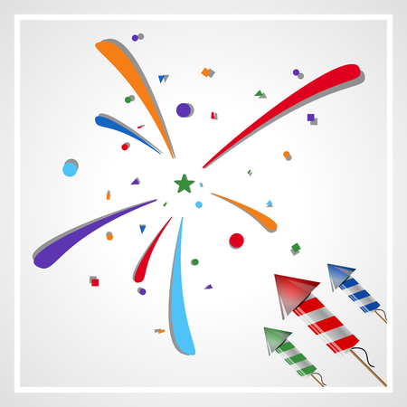 festive: Festive fireworks and colorful confetti. Illustration