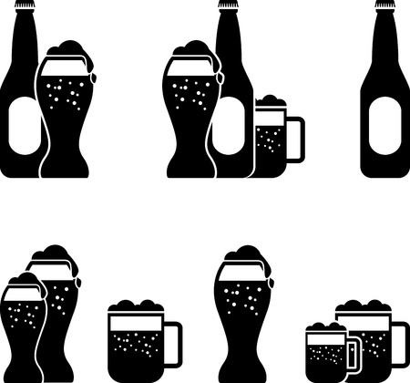 beer icon: black set of beer silhouette Illustration