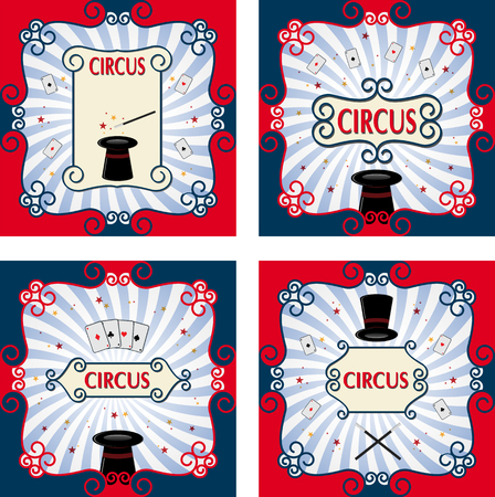 Set of circus poster with black magic cylinder.