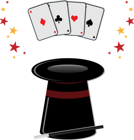 magical equipment: Black magic cylinder with magic wand and playing cards.