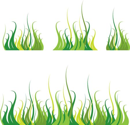 grass blades: Set of abstract image of grass border Illustration