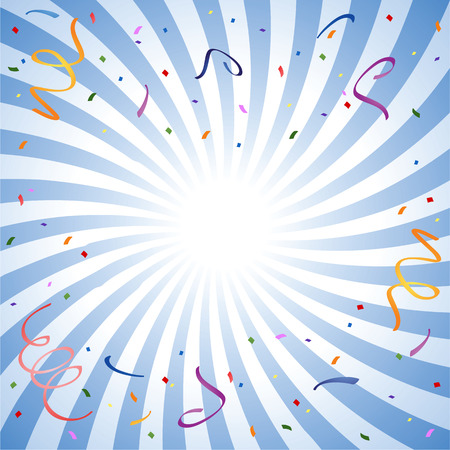 fondo azul rayos con confeti